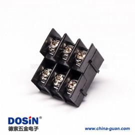 栅栏式双层接线端子6芯带螺丝黑色穿孔式接线连接器