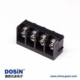栅栏式端子黑色4芯直式穿孔式PCB板安装端子接线