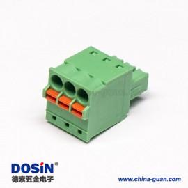 180度进线PCB接线端子弹簧式绿色直式插拔连接器