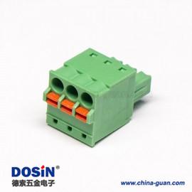 弹簧插拔式PCB接线端子绿色穿孔180度接线