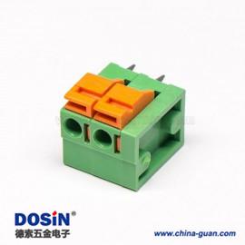 弹簧式免螺丝PCB接线端子4芯180度绿色穿孔式