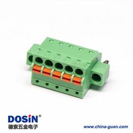 弹簧插拔端子绿色直式两孔法兰穿孔接线连接器