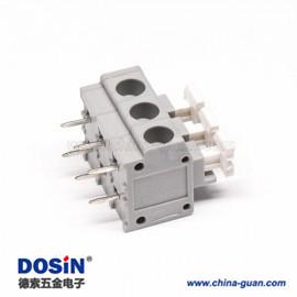 弹簧式接线端子灰色PCB板穿孔式6芯直式接线连接器
