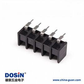 栅栏式接线端子安装弯式黑色插PCB板五螺丝端子接线