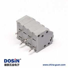 弹簧式端子4孔4芯2.5mm灰色直式插板接线连接器