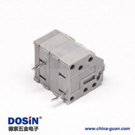 弹簧式PCB接线端子2孔斜对角2芯板端插板式灰色端子接线