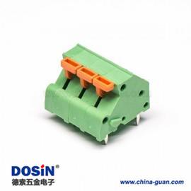 笼式弹簧端子3孔绿色6芯直式穿孔PCB板接线连接器