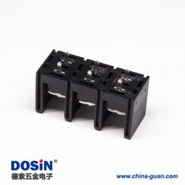 栅栏式PCB接线端子3芯直式插孔黑色PCB安装