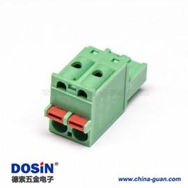 弹簧式PCB接线端子绿色插拔直式连接器