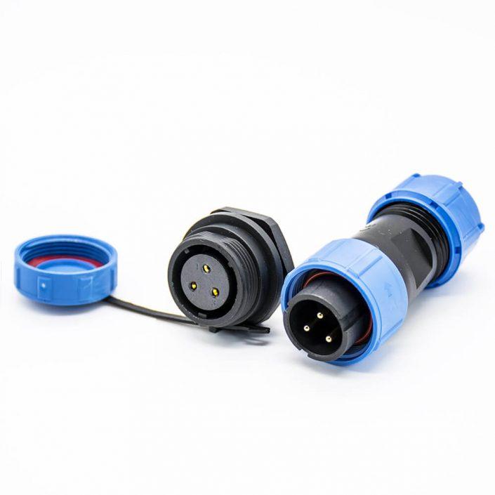 工业防水连接器SP17直式3芯公插头母插座后锁板螺纹防尘连接器