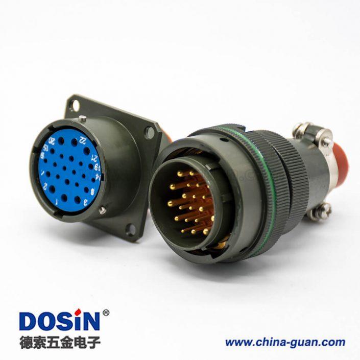 航空插头插座XCE系列22芯卡口连接插头接线焊接插座面板安装焊杯4孔法兰直式27壳体