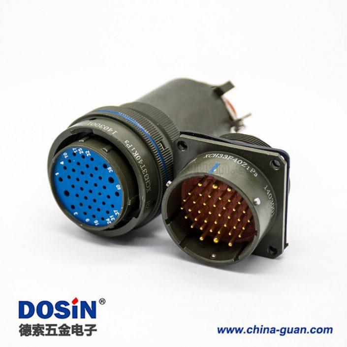 电连接器xch33壳体40芯公母对接插座面板安装焊接插头接线焊接直式镀锌军绿钝化