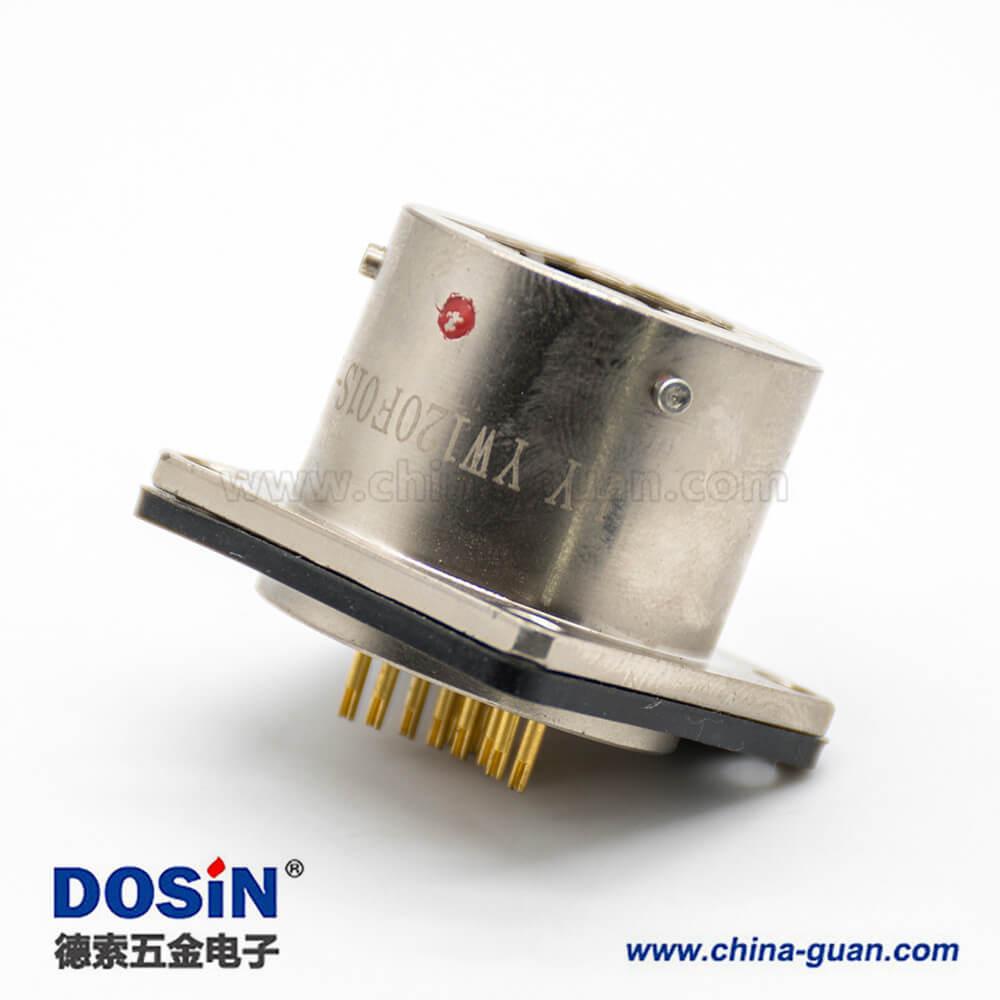 YW圆形RJ-45内置接口卡口连接公母对接插头接线焊接插座面板安装焊接4孔法兰直式连接器