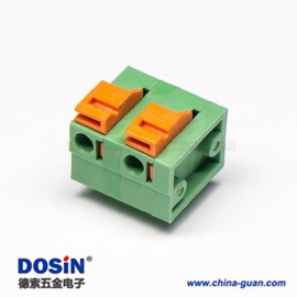免螺丝PCB接线端子弹簧式绿色穿孔