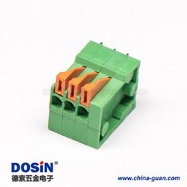 PCB接线端子弹簧式6芯穿孔式插PCB板绿色