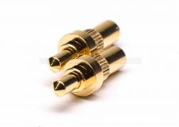 Pogo Pin焊接直式黄铜镀金单芯插件式异形连接器