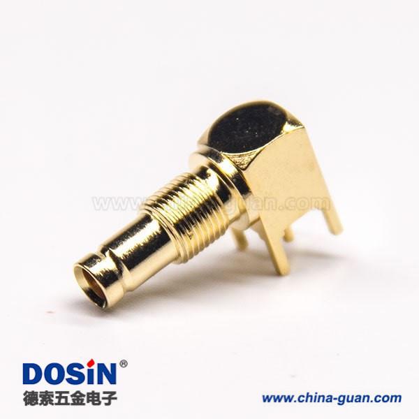 DIN f型连接器插PCB板穿孔式90度母头镀金穿墙式面板安装