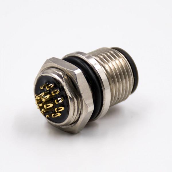 M12插座17芯A扣公头直式防水带屏蔽后锁板板端插座接线焊接式传感器连接器