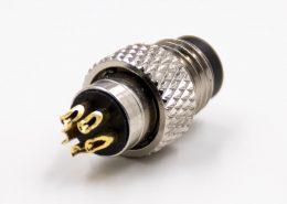 M8公头5芯B扣带屏蔽直式组装接头接线焊接式注塑连接器