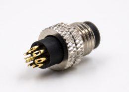 传感器连接器m8公头A扣8芯不带屏蔽直式组装接头接线焊接式注塑连接器