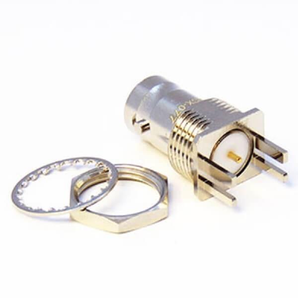 BNC射频连接器母头穿墙式卡板接PCB板3.2mm75欧姆