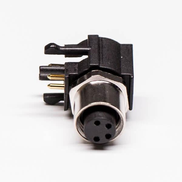 M8PCB板端弯头连接器A型4芯防水母座传感器