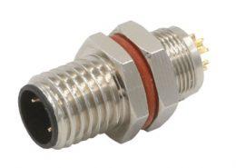 M8连接器公头A型板端后锁3芯焊线连接器