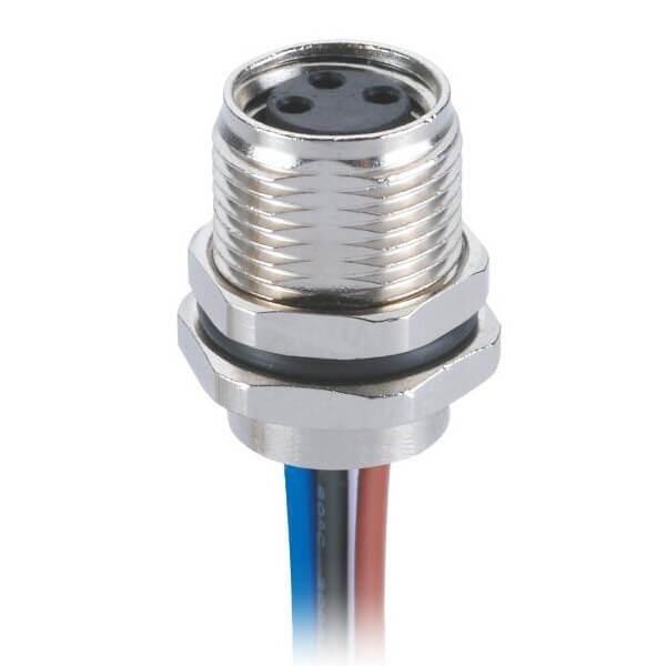 M8板端前锁连接器圆形插座防水直式3芯母插座接60CM24AWG线