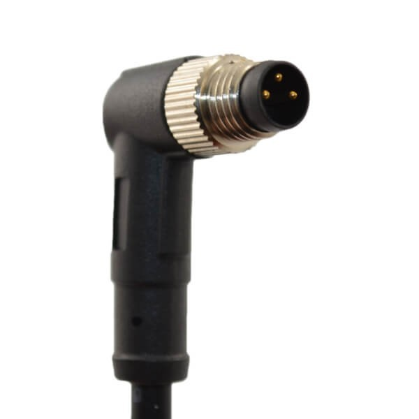 90度M8公头接线防水3芯接1米24AWG PVC线