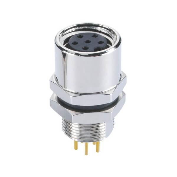 M8 PCB插座板端连接器A型后锁6芯母座插板传感器
