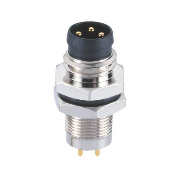 M8板端连接器A型PCB插板后锁3芯公插座连接器