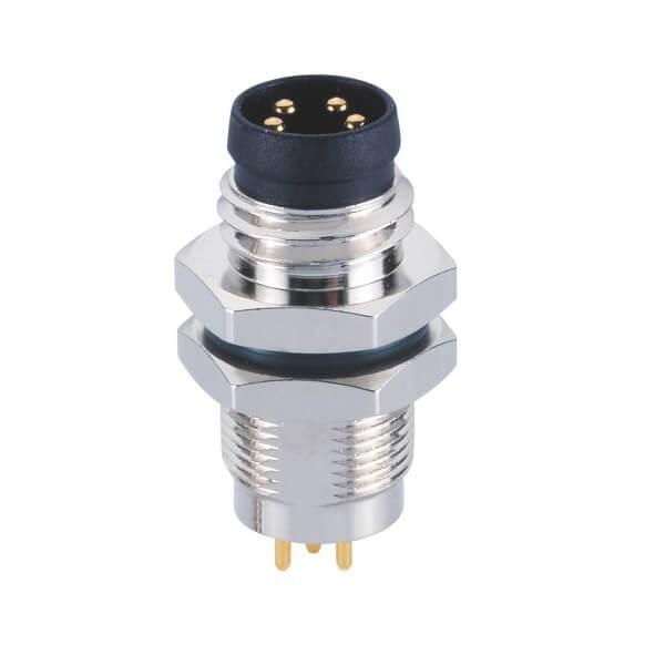 M8防水插座连接器A型PCB板端后锁4芯公插座传感器