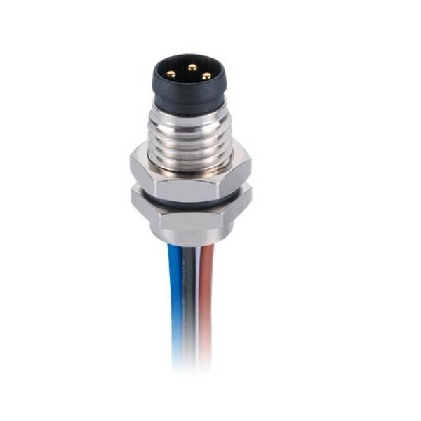 M83芯圆头插座防水板端直式前锁焊线式航空连接器接1米24AWG线