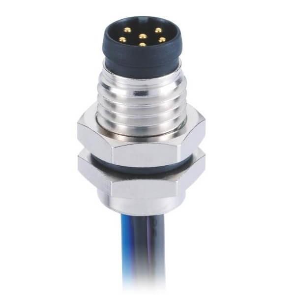 圆形连接器M8A型板端前锁直式防水焊线式6芯公插座连接器接1米26AWG线