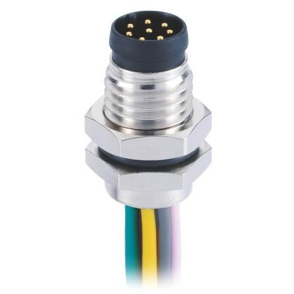 圆形连接器M88芯插座防水直式A型板端前锁焊线式公座接1米26AWG线