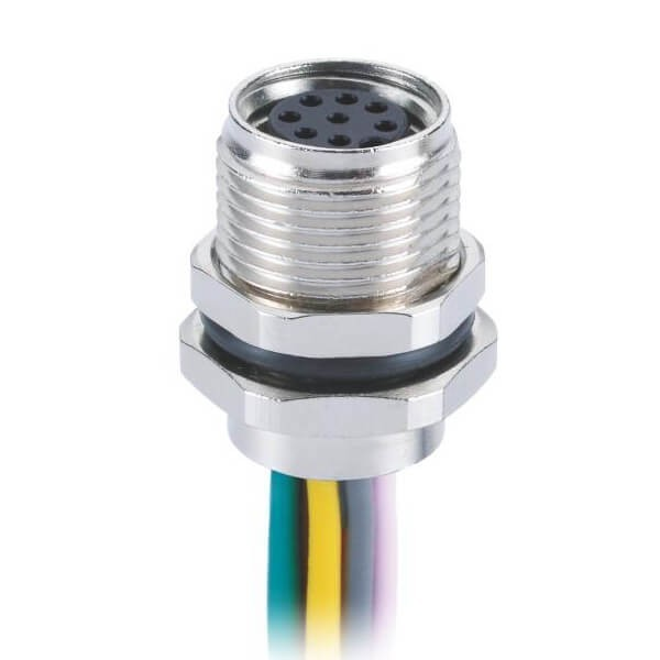 M8金属板端焊线连接器A型直式防水前锁8芯母插座接1M 26AWG线