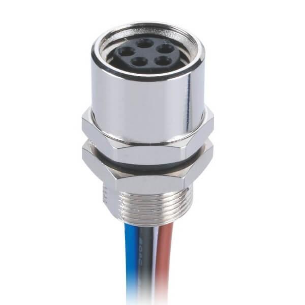 M8后锁5芯板端焊线式传感连接器直式防水B型母插座传感器接1米24AWG线
