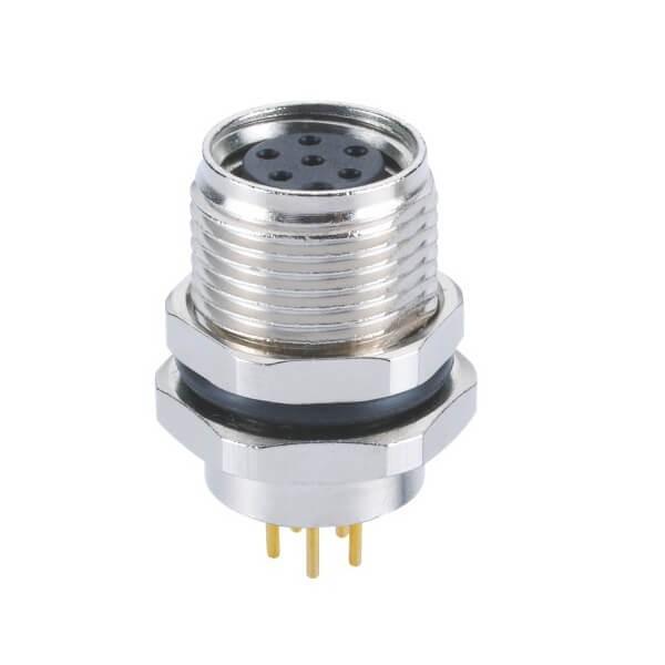 M8 6芯连接器A型板端前锁PCB插板母插座圆形连接器