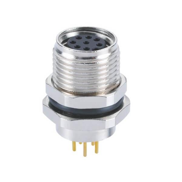 M8航空公插头A型前锁板端PCB插板式8芯母插座工业连接器