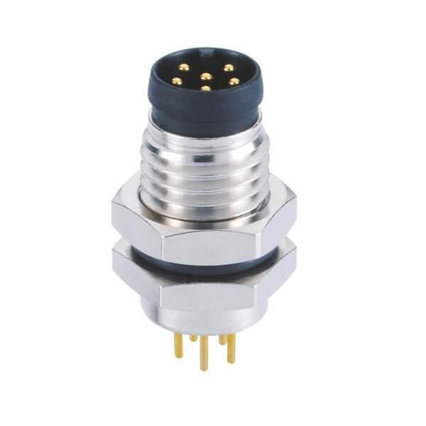 M8插板PCB A型板端前锁6芯公插座航空连接器