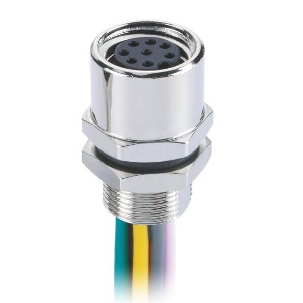 M8传感器插座8芯A型防水直式板端后锁焊线式母座接1米26AWG线