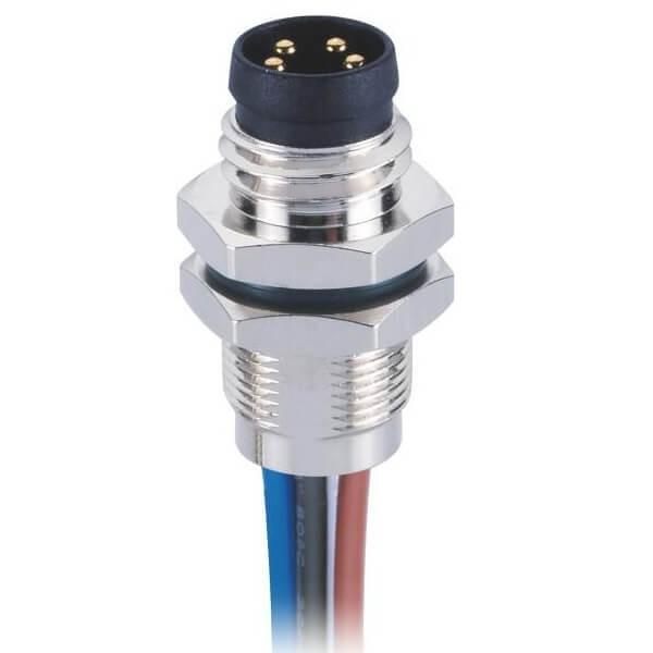 M8焊接式航空插座防水直式板端前锁焊线式4芯公插座接1米24AWG线