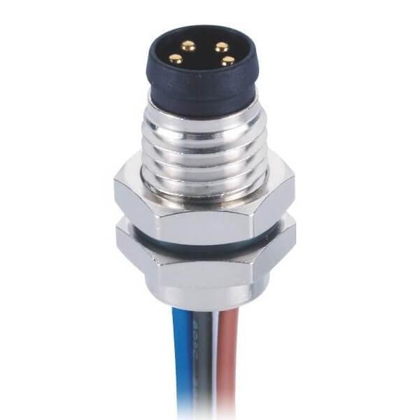 防水M8插座焊线式板端前锁直式4芯公插座工业连接器接1米24AWG线