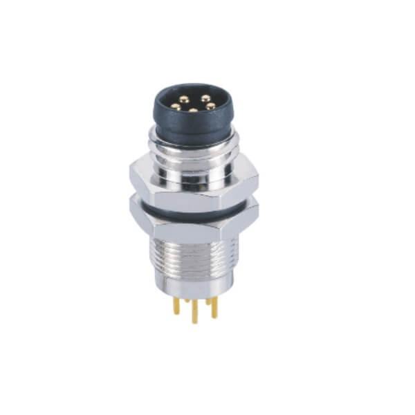 M8 B型焊板插座防水PCB板端后锁公插座5芯工业连接器