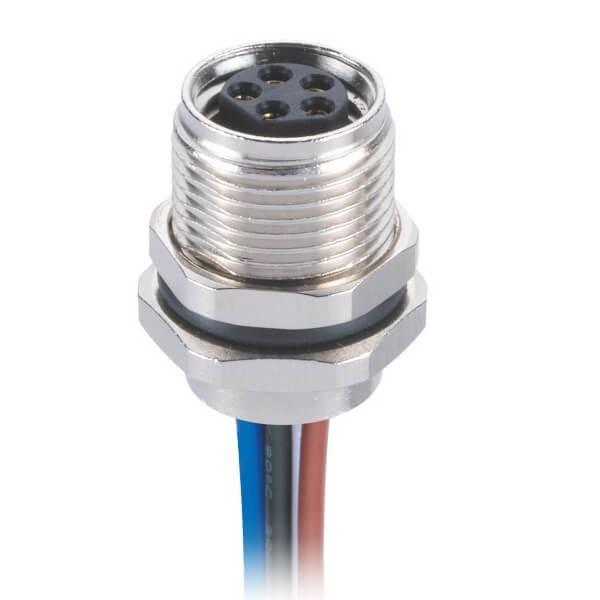 M8焊线连接器B型板端前锁直式防水5芯母航空插座接1M 24AWG线