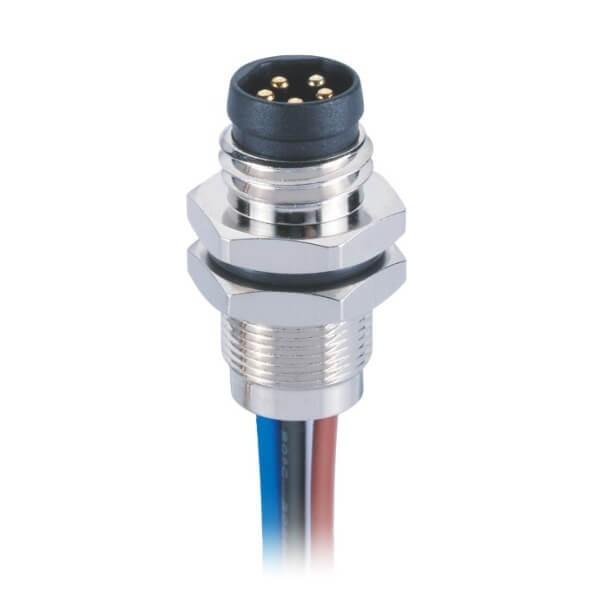 防水后锁式M85芯板端焊线连接器直式B型公插座接1米24AWG线