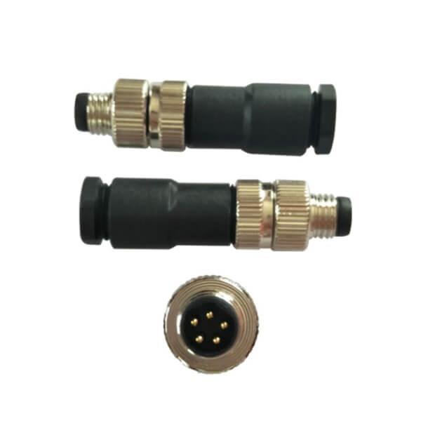 M8防水插头装配式5芯公插头航空连接器