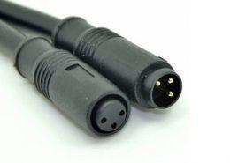 M8宝马头注塑成型防水直式塑料3芯公转母拓展线1米24AWG