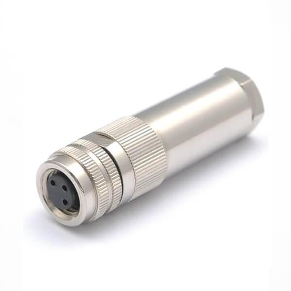 M8金属组装航空连接器锁接式M8 3芯母插头