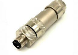 M8 3芯金属公插头组装式M8工业连接器